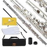 Glory Flauta tonalidad Do con funda, varilla, gamuza, lubricante y guantes, 16Open/Close Hole