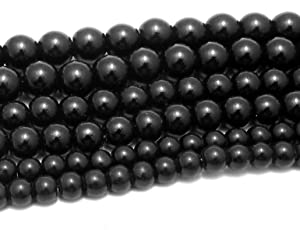 Jaz's Combo of Black Glass Loose Beads -Jewelry Making Findings-3 Size Dia.-10mm,8mm & 6mm- 35 pcs each