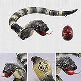 Elegantes Schlangen-Spielzeug mit Fernbedienung, wiederaufladbar, lebensechtes realistisches Naja Kobra-Spielzeug mit einziehbarer Zunge und schwingendem Schwanz für Kinder Gray-Black