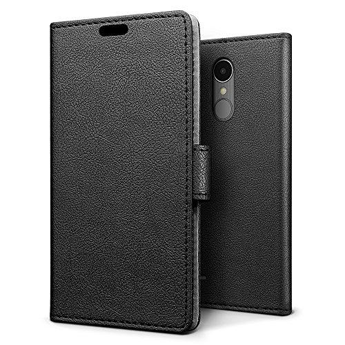 Sleo [premium portafoglio protettiva wallet cover per lg k8 2017, 2-scheda slot, [pu pelle] morbido impermeabile antipolvere protezione - nero