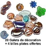 Jeu de Plein air - 20 galets + 10 billes plates offertes :Galets en verre forme aléatoire. idée de décoration