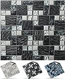 24 stück Fliesenaufkleber für Küche und Bad (Tile Style Decals 24xTP 71 -6in- Black & Sil. Glass) | Mosaik Wandfliese Aufkleber für 15x15cm Fliesen | Fliesen-Aufkleber Folie Farbe - Mitternachtsblau | Deko-Fliesenfolie für Küche u. Bad (15cm - 24 stück, Schwarz und grau)