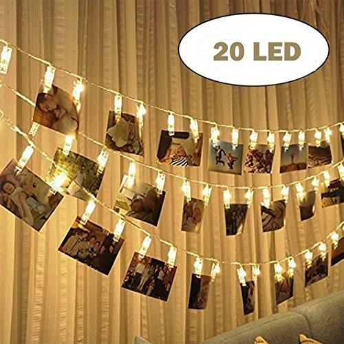 Ankamal Elec 20 LEDs Foto Clips String Licht, batteriebetrieben mit Fernbedienung 3m LED Foto Clip Klemme Licht Garland für Indoor / Outdoor Dekoration Dekor Hochzeit Zimmer Wand, Foto, Bilder, Artwork, Dekor Weihnachten, Jubiläum, Valentinstag (Warm White)
