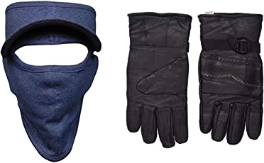 H-Store Balaclavas Mask Cap Blue With Red&Black Filter Anti Pollution Dust Sun Protecion Face Cover Mask With Black Winter Gloves/ Bike Gloves/ Biker Gloves/ Motorcycle/ Bike Racing/ Riding/ Gym / Fitness / Full Fingers Gloves Best Grip For Men Women