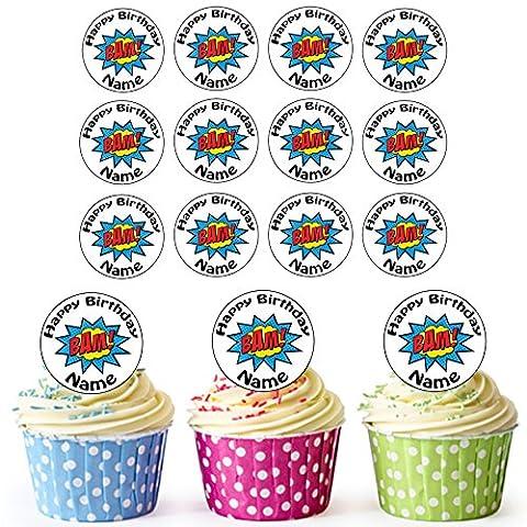 Superhero Bam 24personnalisé comestible pour cupcakes/décorations de gâteau d'anniversaire–Facile prédécoupée