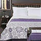 DecoKing Tagesdecke 170 x 210 cm violett weiß Bettüberwurf mit abstraktem Muster zweiseitig pflegeleicht Alhambra lila Purple White Lilac