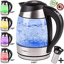 TZS First Austria -1,8L Edelstahl Glaswasserkocher mit Teesieb-Einsatz und Kalk-Filter | Wasserkocher LED Beleuchtung-Farbe je nach Temperaturwahl 60, 70, 80, 90, 100 °C | Warmhaltefunktion | schwarz
