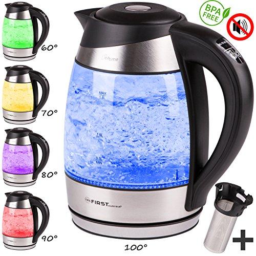 Preisvergleich Produktbild TZS First Austria -1,8L Edelstahl Glaswasserkocher mit Teesieb-Einsatz und Kalk-Filter | Wasserkocher LED Beleuchtung-Farbe je nach Temperaturwahl 40, 60, 70, 90, 100 °C | Warmhaltefunktion | schwarz