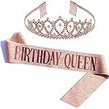 Oro Rosa Glitter Compleanno Tiara Corona, Birthday Queen fusciacca gadget per Decorazioni festa di compleanno Regali per raga