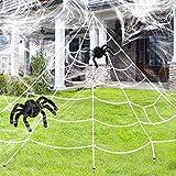 Tacobear Halloween Deko inklusive Groß Halloween Spinnennetz mit 2 Spinnen und 2 Spinnweben Halloween Dekoration für Draussen Garten Hof