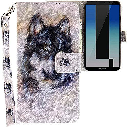 CLM-Tech kompatibel mit Huawei Mate 10 Lite Hülle, Tasche aus Kunstleder, Wolf Mehrfarbig weiß grau, PU Leder-Tasche für Huawei Mate 10 Lite Lederhülle