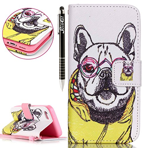 SainCat Apple iPhone 5c Custodia in Pelle,Anti-Scratch Protettiva Corpertura Caso Custodia Per iPhone 5c,Elegante Creativa Dipinto Pattern Design PU Leather Flip Ultra Slim Sottile Morbida Portafoglio cane cartone animato