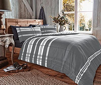 100% Brushed Cotton Flannelette Flannel Duvet Set With Pillow Cases , Warm and Cosy , Thermal Bedding - low-cost UK light shop.