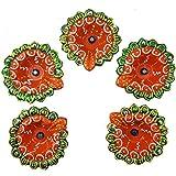 Diwali Diya Set Of 5 Handmade Earthen Clay Terracotta Decorative Dipawali Diya Diwali Diya Oil Lamps For Pooja Diwali Deepak Fancy Diya For Rongali - B075VCY5S4