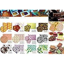 Lot de 12pièces Imprimé Chocolat Feuille de transfert comestibles Décorations de Créations pour, transparent, MOD1