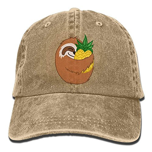 guolinadeou Pineapple Sloth Vintage Washed Dyed Cotton Twill Low Profile Adjustable Baseball Cap