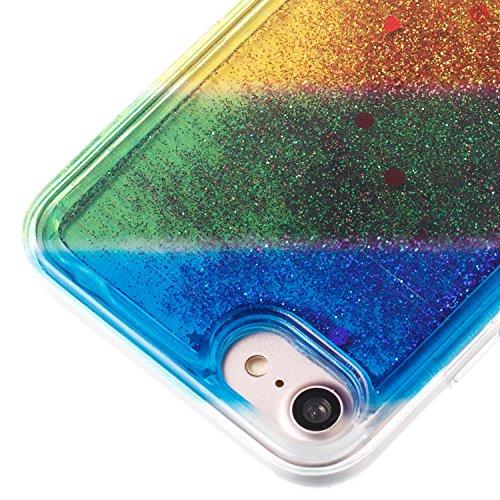 "iPhone 8 4.7"" Case, iPhone 8 Gliter Case, Edaroo [Rainbow Liquid Glitter] [Colorful Quicksand] Cute Creative Flowing Liquid Floating Glitter Bling Rubber Case for Apple iPhone 7(4.7 inch) / iPhone 8(4 Stripe #3"
