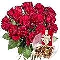 18 rote Rosen und Belgische Pralinen von Valentins - Du und dein Garten