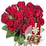 18 rote Rosen und Belgische Pralinen