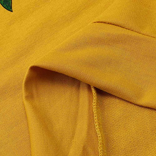 Rameng Femme Fleurs Roses Sweat à capuche Manches Longues Pullover Sweat-shirt Hiver Haut yellow