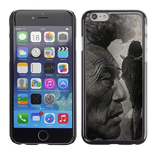 QCASE / Apple Iphone 6 Plus 5.5 / americano arte natura capelli uomo indiano nativo (Nativo Americano Fast)
