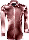 Barbons Trachen Herren Hemd -Kariert- Karohemd- Modern - Fit - Hemden für Freizeit, Party Business und Oktoberfest (M, Rot-navy)
