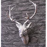 Wanddeko Hirschkopf, silber/versilbert mit Blattmetall - individualisierbar - ein besonderes Geschenk