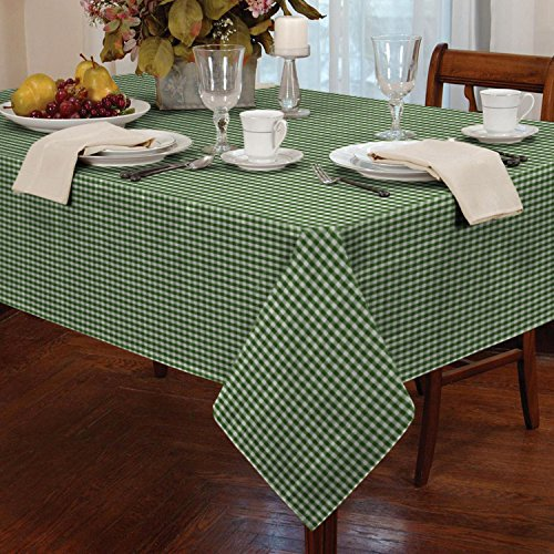 Gingham Check Oblong Tablecloth Dining Room or Kitchen Table Linen 54 x 72 (Green) by Classic Home Store