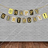 #5: Party Propz™ # Happy Birthday Golden Glitter Banner / Happy Birthday Decoration / Happy Birthday Party Supplies /Birthday Banner for Party