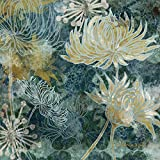 Artland Qualitätsbilder I Wandbilder Selbstklebende Wandfolie 100 x 100 cm Botanik Blumen Blüte Mixed Media Bunt C2HB Blaue Chrysanthemen I