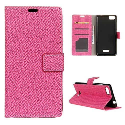 Wiko Fever Special Edition Hülle, CaseFirst PU Lederhülle Klapp Stoßfest Prämie Handyhülle Leather Wallet Case Brieftasche Hülle Schutz Handy Schale mit Ständer & Card Slots (Pink)