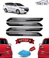 Fabtec Rubber Car Bumper Protector Guard with Chrome Strip for Toyota Innova Crysta (Set of 4) Black (Design-Double Chrome)