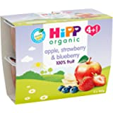 HiPP Organic Just Fruit Apple, Strawberry and Blueberry Fruit Pot 400 g (Pack of 6)