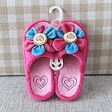 SED Pantoufles - Printemps et Automne Chaud Mignon Fleurs Ouvert Accueil Pantoufles Bas Parent-Enfant Cachemire Maison Pantoufles,Rouge,Code de l'enfan