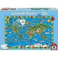 Schmidt - Mappamondo Puzzle per Bambini, 200 Pezzi