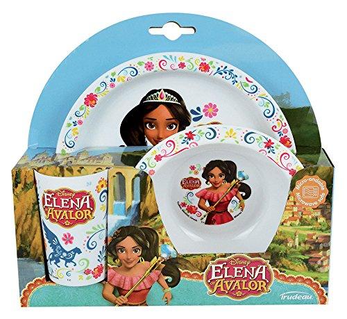 FUN HOUSE 005553 Disney Elena D'AVALOR Ensemble Repas Contenant 1 Assiette, 1 Bol et 1 Verre pour Enfant, Polypropylène, Bleu, 26,5 x 8,5 x 24,5 cm