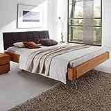 Pharao24 Schlafzimmer Bett aus Eiche Massivholz Polsterkopfteil in Grau Stoff Ausführung 3