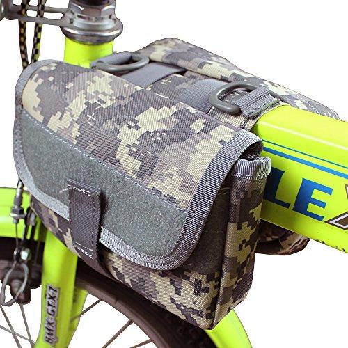 xhorizon® Hochdicht Wasserfest Militärtuch Fahrrad Radfahren RahmenPannier Seitentasche Front Tube Bag Double Side Bag Tactical Camouflage Style Camouflage Digital Grau