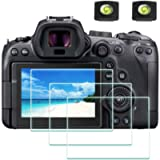 Screen Protector for Canon EOS R6 Camera & Hot Shoe Cover [2+3Pack], ULBTER 0.3mm 9H Hardness EOSR6 Tempered Glass Flim…