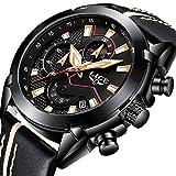 LIGE Herren Fashion Sport Analog Quarzuhr Schwarz Gold Leder Military Datum Chronographen 9869B