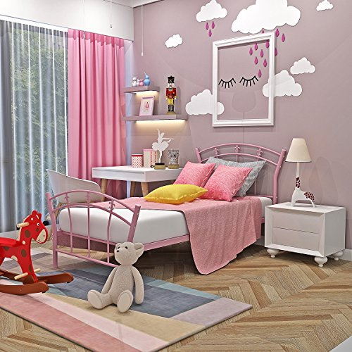 Dakea Metallbett rosa Einzelbett 90cm x 190cm