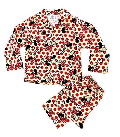 Kids Girls Disney 100% Cotton Winceyette Flannel Fleece Warm Winter Wincey Long Pyjamas Pjs Pj's Childrens Minnie Mouse Size 3-4