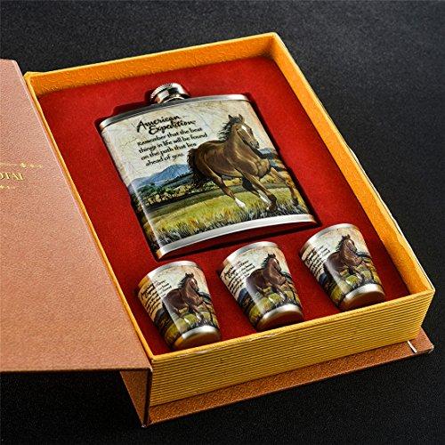 gennissy 30418/8Edelstahl 8oz Fläschchen–Braun Leder mit 3Tassen und Trichter 100% auslaufsicher, Edelstahl, A Book of Horses, 9 OZ (Gewinde-fläschchen)