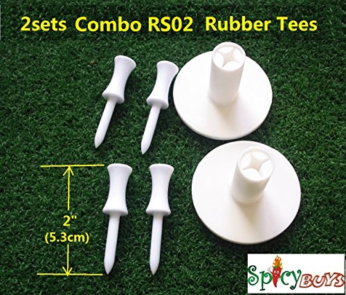 spicybuys 2sets Combo RS02 Tee Golf porta tee in gomma + 2
