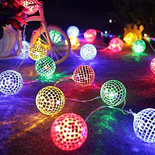 Pilas aaa alcalinas,Luces de cuerda de jardín al aire libre Luces de hadas Bola de espejo de boda impermeable...