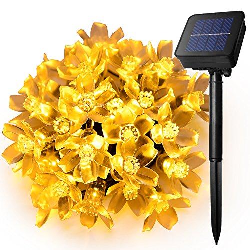 Ankway flor de la secuencia solar Luces (5M 8 modos impermeable ), 30 LED guirnalda luz solar, luces decorativas led para jardín, patio, árbol de Navidad, casa, cuarto, boda y fiesta (blanco cálido)
