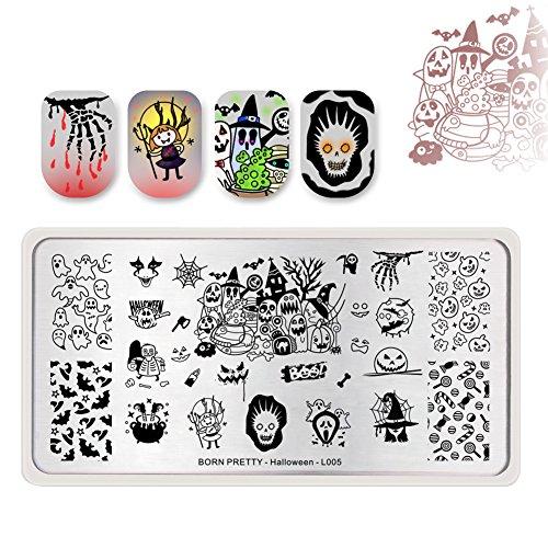 BORN PRETTY Nail Art Stempel Vorlagen Halloween Stempel Bild Rechteck Stempel Platte Kürbis Hexe Candy L005
