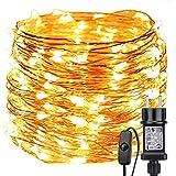 LE Stringa Luminosa 20m, 200 LED Luce Filo in Rame Impermeabile IP65 Bianco Caldo per Decorazioni Feste Alberi di Natale San Valentino