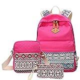 MingTai Backpack Mochilas Escolares Mujer Mochila Escolar Lona Bolsa Casual Para Chicas Bolsa De Hombro Mensajero Billetera Rose