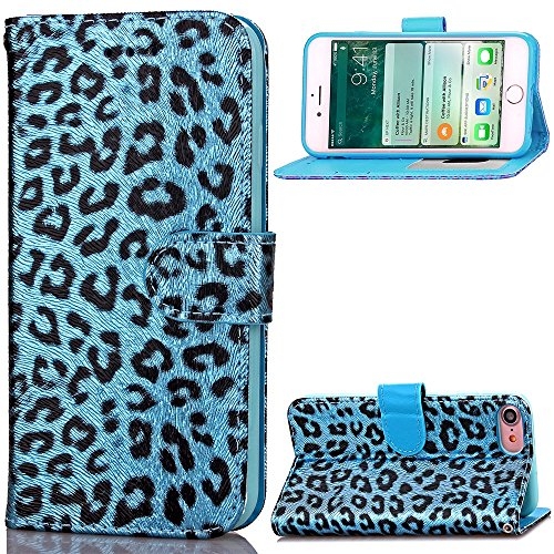 Für IPhone 7, Leopard Muster Farbdruck Malerei Fall PU Leder Pretective Fall mit Stand Wallet Funktion FeiNianJSh ( Color : 4 , Size : Iphone 7 ) (Outter Iphone 4 Fälle)